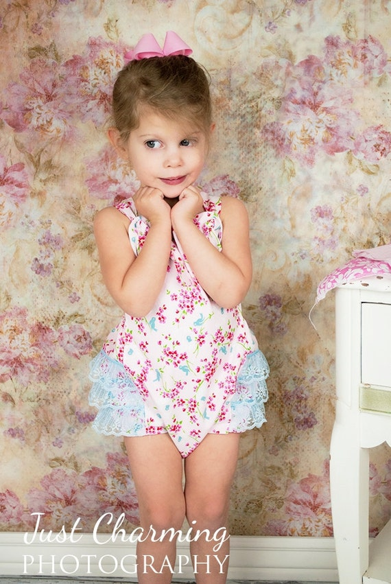 Baby Toddler Ruffled Romper Bubble Sunsuit Serenity Pink and Blue 3mo 6mo 12mo 18mo 2T