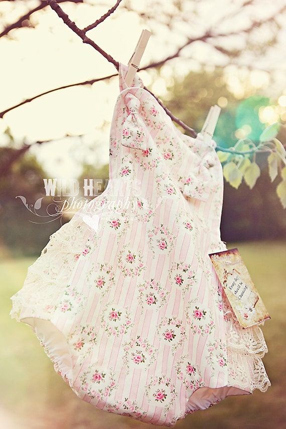 Childrens Clothing Baby Girl Sunsuit Romper Bubble with Ruffles - Shabby Romance Pink 3mo 6mo 12mo 18mo 2T