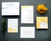 Sample of The Rebecca Traditional Floral Wedding Invitation in Gray and Yellow or any other colors