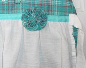 Upcycled Full Apron / Turquoise Machine Embroidered with a Shabby Chic Look