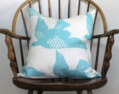 """Hable Construction """"Bird"""" in water 20"""" Pillow - pattern on both sides"""