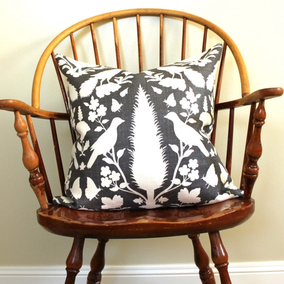 "Schumacher Chenonceau in Charcoal 20"" Pillow Cover  pattern on BOTH sides"