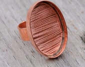 Copper Deep Welled Adjustable Oval Ring 20x30mm 5mm deep blank
