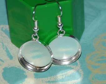 Round sterling plate earring bezels 17mm circles