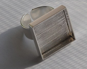 Sterling Silver Plated Deep Welled Adjustable Square Ring 20mm Blank