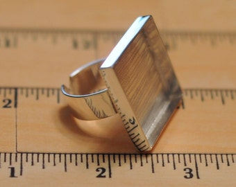 Big TEXAS Sized Sterling Silver Plated Square Ring