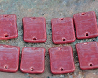 2 Large Rectangle Curved Beads in Dark Wine
