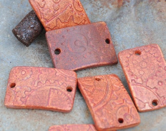 Steampunk Curved Beads in Rustic Sunset
