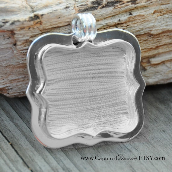 Close out...Fancy Frame Pendant Blank in Sterling Silver Plate