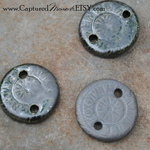 5 Round Steampunk Beads or Links in Black Ice