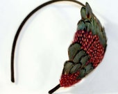 CROSBY red and green feather headband