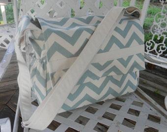 Chevron Village Blue and Natural  Diaper Bag Messenger Style