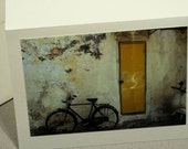 Bicycle greeting card door card yellow door photo card Asia Chinatown frameable card  photo card stock greeting c