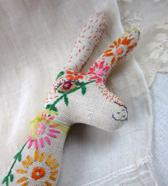 Baby Bean the Hand Embroidered Fabric Hare: sunflowers & daisies