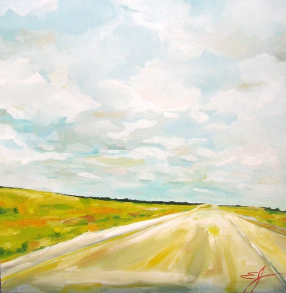 CUSTOM LISTING for Sara  -- Headed West - a Large Original Oil Painting by Emily Jeffords