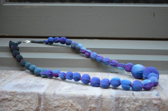 Asymmetrical Purple and Blue Statement Necklace