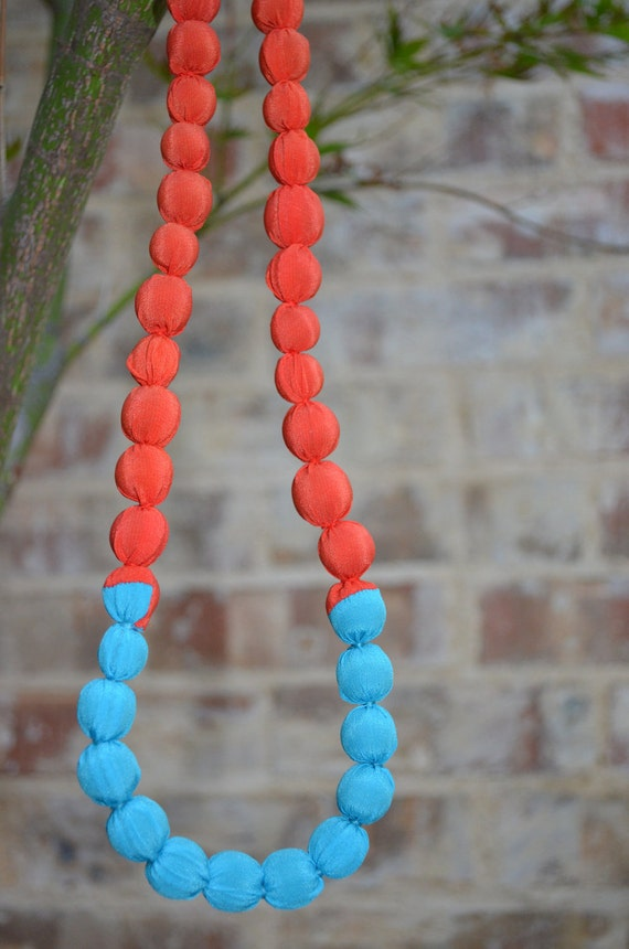 Color-block Tangerine and Turquoise Necklace