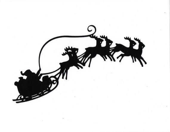 Items similar to LARGE Santa Sleigh reindeer Silhouette die cut for ...
