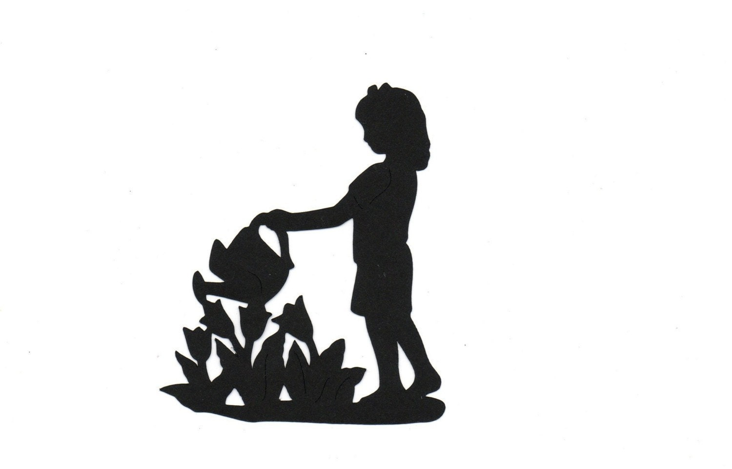 Girl in Gardenflowers Child Silhouette by