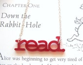 read. - laser cut acrylic necklace (red)