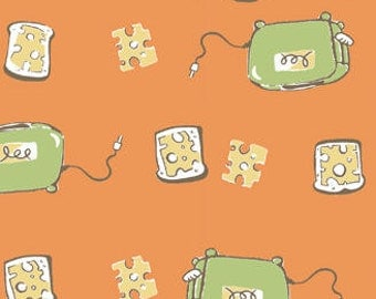 Heather Ross - Munki Munki - Cheese Toast - Bamboo/Cotton Flannel Fabric - 1 Leg Panel