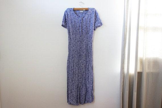 vintage light purple floral print button up dress
