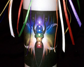 Wicca Witch Pagan Altar Spell Magick Chakra Meditation Alignment Ritual Candle