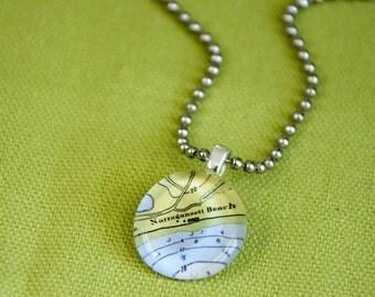 Narragansett Beach RI small round pendant