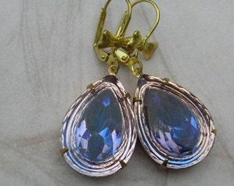 Vintage Assemblage Earrings, Purple Teardrop Dangle Earrings Estate Style Drop Lavender Vintage Glass Bow Ribbon Jewelry