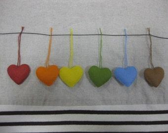 Felt heart ornament (rainbow mix)