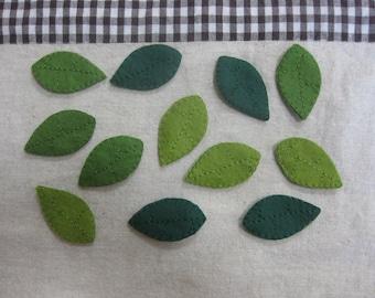 Felt green leaves