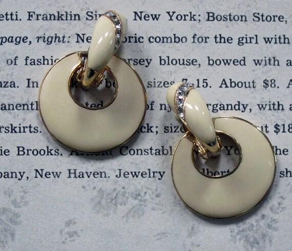 Cute Vintage 80s Earrings Enamel Rhinestone Convertible 2 in 1 Cream Door Knockers