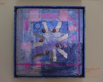 Abstract Collage Blue Pink Silkscreen Framed