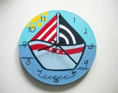 Hand painted childrens red white and blue baby sailboat recycled wall clock - by Bearly Art - Westfield, Ma .