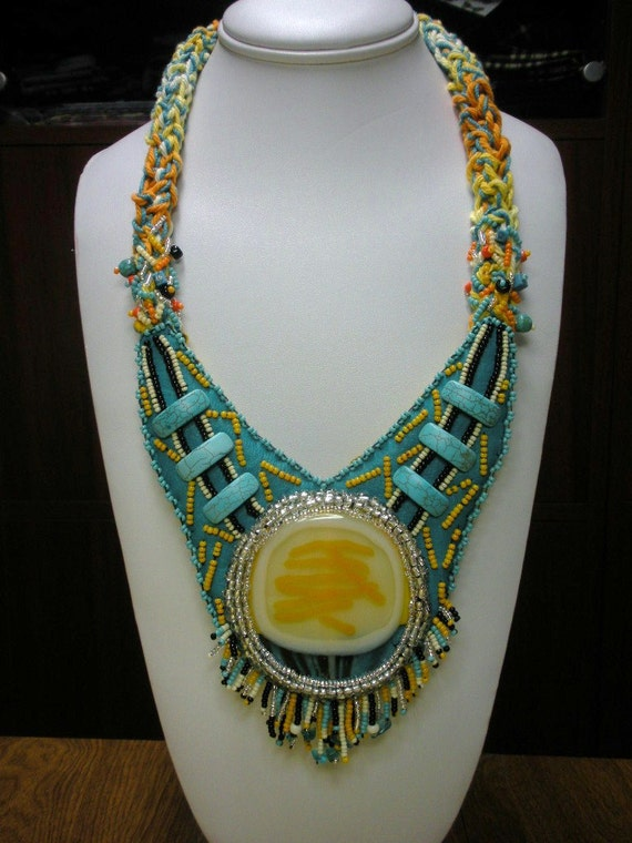 Niza Accessories SUNFIRE ooak Recycled Leather Bead Embroidery chunky necklace with fused glass cabochon by Lauren Urban