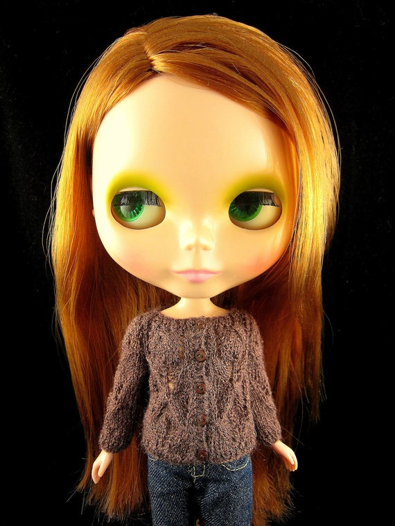 Lace cardigan for Blythe - Brown