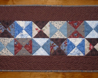 Brown and Blue Quilted Table Runner