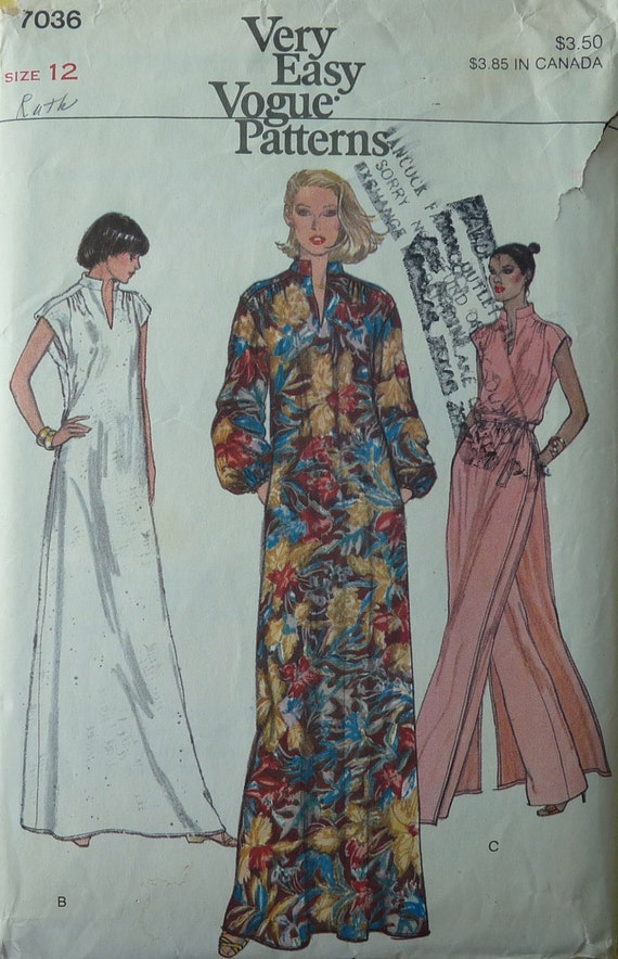 VOGUE 7036 Very Easy Pattern, Misses' Dress or Tunic, Pants and Belt, Size 12