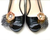Woodland Romance Flower Feather Shoe Clips