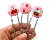 Handy Dandy Button Bookmarks, Cupcake, Cherry, Sweets, Baking, Cooking, Cooking Bookmark, Office Supply, Stocking Stuffer