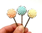 Pastel Resin Cabochon Flower Bobby Pins, Gifts for Her, Pastel, Spring, Peach, Creamy Yellow, Aqua, Hair Accessory