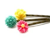 Summer Passion Set of Three Resin Cabochon Flower Bobby Pins
