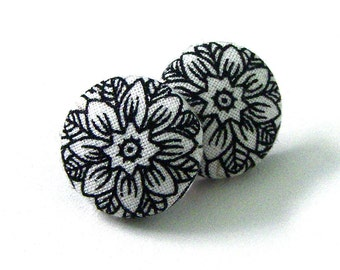 Button Earrings, Black and White Flower, Jewelry, Button Jewelry, Button Accessories, Fabric Button Earrings