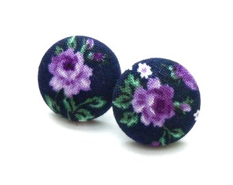 Fabric Button Earrings, Purple Roses, Spring, Flower Earrings, Floral, Purple Flower Earrings, Jewelry,