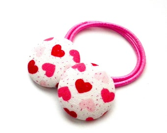 Heart Button Hair Ties, Valentines Day, Kids Hair Accessories, Hearts, Ponytail, Hearts