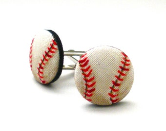 Baseball Fabric Covered Button Cufflinks, Christmas Gifts, Gifts for Him, Fathers Day, Customer Favorite, Mens Accessories, Groom, Wedding