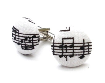 Music To My Ears Mens Fabric Covered Button Cufflinks, Fathers Day, Cufflinks, Musical Notes, Music Enthusiast, Stocking Stuffer, Groomsmen