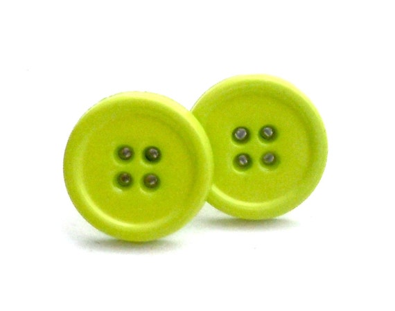 Chartreuse Green Button Earrings