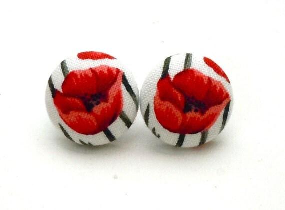 Button Earrings, Red Poppy Flower, Jewelry, Earrings, Poppy, California Poppy