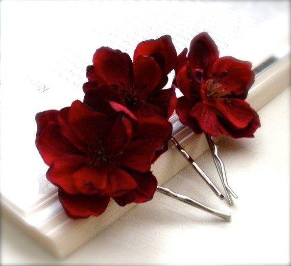 Rustic Ruby Red Flower Bobby Pins, Christmas Red